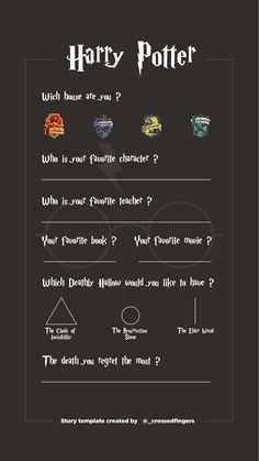 Template Instastory Harry Potter #harrypotter #instagram #template