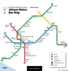 The Ultimate Bar Crawl: Athens' First-Ever Metro Bar Map — The TravelPorter Athens Bars, Athens Nightlife, Athens Metro, Athens Airport, Best Cocktail Bars, Metro Map, Blue Roof, Bar Scene, Local Bars