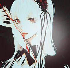 anime   art   beautiful   blood   bloody   creepy   doll   emo   feather   gothic   illustration   knife   lollita   rozen maiden   suigintou   white hair