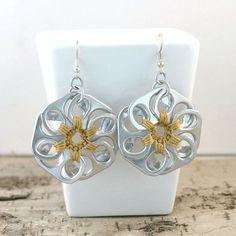 rose gold pop tab flower earrings  pair crochet by tabsolute, $10.00