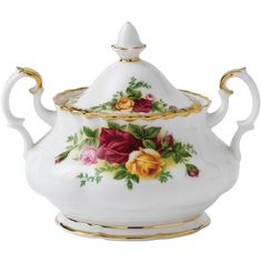 Royal Albert Old Country Roses Sugar Bowl ($115) ❤ liked on Polyvore featuring home, kitchen & dining, serveware and royal albert