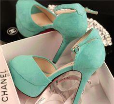 Image via We Heart It https://weheartit.com/entry/125183544/via/13802995 #chanel #fashion #heels #high #look #shoes #style #aquamarine