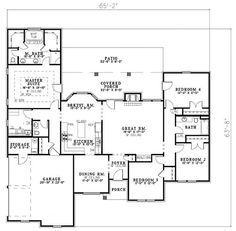 First Floor Plan of House Plan 62346  2147 sq ft *I want this floor plan: even if it's one story!*