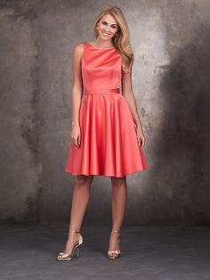 Allure Bridesmaids STYLE: 1422 Blending satin and lace has never been sweeter than this sleeveless dress.