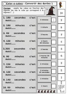 Color-o-cube sur les calculs de durées  Un  jeu mathématique  pour réviser  le calcul des durées  et les  conversons de durées  en  CE2  et  CM1.    Ce jeu utilise des cubes de 10 couleurs différentes (matériel disponible sur amazon :  Learning Resources Cubes Mathlink (Jeu de 100)  autour de 13 euros)   Le jeu est auto correctif et il faut donc plier la partie droite de la feuille pour la cacher.   Un fois que l'élève a reformé la pile il suffit de retourner la feuille et de véri.. Maths, Budget, The Length, Kindergarten Classroom