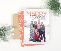 Christmas Photo Card  Merry Snowflakes by Paperelli