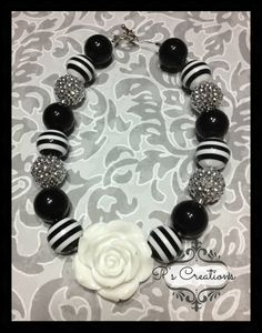 Toddler Black and White Chunky Bubblegum necklace by PsCreation, $15.00