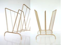 GIGANTIC  Mid Century Gold Magazine Rack  ART by TheHeartTheHome