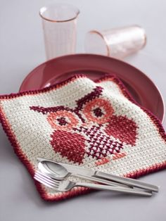 Owl Cross Stitch Dishcloth | Yarn | Free Knitting Patterns | Crochet Patterns | Yarnspirations