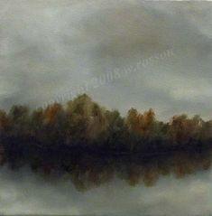 Original Oil Painting Fall Autumn Foggy Gloomy Trees by winjimir, $40.00
