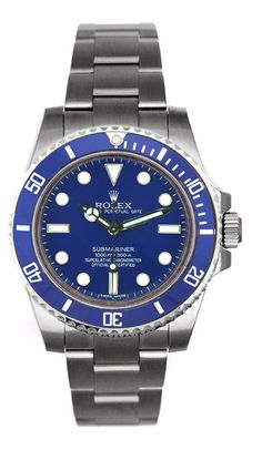 Rolex Submariner Steel Non Date Custom Blue Dial / Insert ! Model # 114060