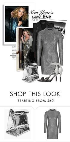 """""""silver night"""" by black-eclipse-red-sky ❤ liked on Polyvore featuring Topshop, Balmain, Calvin Klein, Silver, KateMoss and nyestyle"""