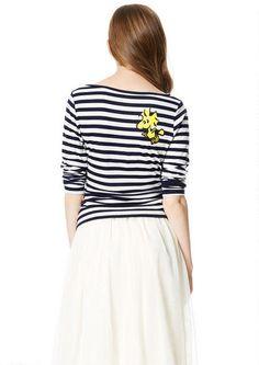 Snoopy Stripe 3/4 Sleeve Tee - fr