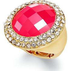 INC International Concepts Ring, 14k Gold-Plated Fireberry Cabochon... ($12) ❤ liked on Polyvore featuring jewelry, rings, 14k jewelry, stretch rings jewelry, pave ring, pave jewelry e gold plated jewellery