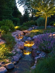Traditional Landscape/Yard - flowing lines, color, fire/lighting and water. Great chi! Make sure the flow of water is flowing toward the house and the water is clean and fresh.