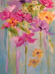 Floral Painting - Acrylic and Art Tissue on Canvas by Susan Pepe