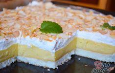 SUROVINY Těsto: 7 ksbílku 7 lžickr. cukr 7 lžicpolohrubá mouka Náplň: 7 ksžloutka 10 lžickr. cukr 1 Mayonnaise, Czech Recipes, Vanilla Cake, Camembert Cheese, Spicy, Cheesecake, Baking, Sweet, Food