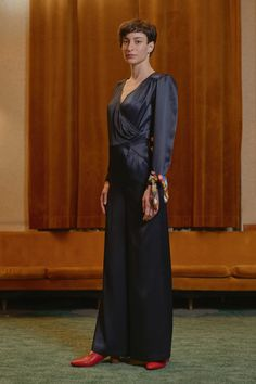KISPEST - overlap satin jumpsuit Satin Jumpsuit, One Shoulder, Women Wear, Contemporary, Formal Dresses, Collection, Style, Fashion, Dresses For Formal