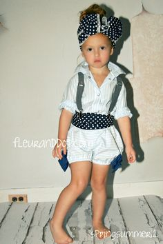 Girls Bow Bubble Shorts in Navy Blue and White from the Spring Summer Collection by Fleur and Dot. $52.00, via Etsy.