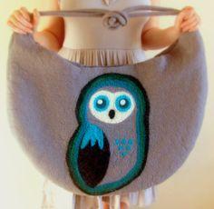 Owl Bag Wet Felted Bag Extra Large