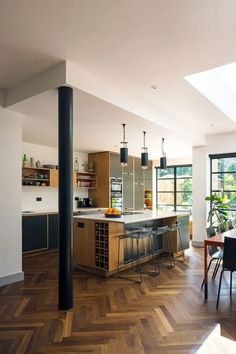 Bespoke plywood furniture Bespoke Plywood Kitchen by Uncommon Projects Large Open Plan Kitchens, Open Plan Kitchen Diner, Open Plan Kitchen Living Room, Kitchen Family Rooms, Kitchen Dinning, Home Decor Kitchen, Home Kitchens, Open Plan Living, Home Interior