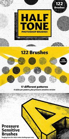 Bracken's Half Tone Looking for a great way to shade your work ready for print or just general design? These halftone brushes give you the perfect level of Graphic Design Tools, Graphic Design Tutorials, Web Design, Graphic Design Posters, Graphic Design Typography, Graphic Design Inspiration, Tool Design, Vintage Graphic Design, Halftone Pattern