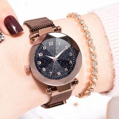 Dropshipping 2019 Luxury Women Watches Stainless Steel Magnetic Buckle Starry Sky Crystal Wrist Watches for Women Ladies Watch Elegant Watches, Casual Watches, Trendy Watches, Silver Pocket Watch, Accesorios Casual, Seiko Watches, Wrist Watches, Watch Brands, Quartz Watch