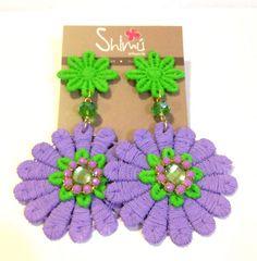 Nuevos zarcillos flores / New flower earrings Handmade summer Dangle Earrings, Crochet Earrings, Wire Wrapping Tutorial, Crochet Accessories, Tassels, Wraps, Jewellery, Lace, Bracelets