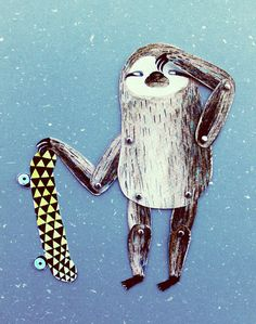Articulated paper doll Surfing skating sloth DIY by lukaluka