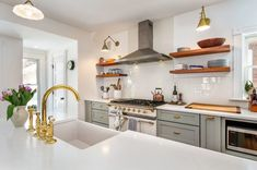 Kitchen of the Week: A Roomier Space With Classic Good Looks Grey Shaker Kitchen, Open Shelving, Shelves, Kitchen Cabinets, Kitchen Appliances, Kitchens, Modern Brands, Magic Chef, Transitional Kitchen