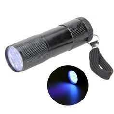 1 Pcs Mini Aluminium 9 LED UV Flashlight Torch Ultra Violet Blacklight Detection Flashlight Multifunction Hunting Camping Lights #jewelry, #women, #men, #hats, #watches, #belts, #fashion