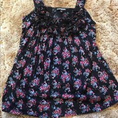 Cute black tank top Black tank top with flowers and Ruffles at the top Express Tops Tank Tops