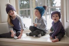 Peyton - Lavender Knit Hat Gus - Teal Knit Hat Hazel - Lavender + Grey Knit Headband