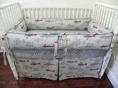 Airplane Crib Bedding Set Logan Boy Baby Gray