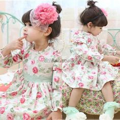 Girl Dress 1PC Princess Kids Girls Clothing Cotton Rose Floral Print Long Sleeve Belt Dress Free&Drop Shipping