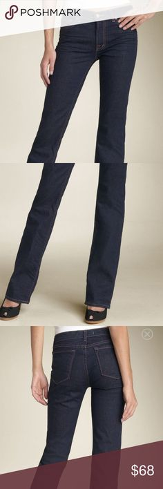 "J Brand Straight leg Stretcg Jean ""Ink"" color J brand .great condition .dark-rinse stretch jeans zslightly higher rise and a straight-leg cut that subtly widens near the hem. Five-pocket style. Belt loops.  Cotton/spandex;  Approx. inseam: 34 1/2"" with 16 1/2"" leg opening. Approx. rise: front 9""; back 13 1/2"". Narrow through the thigh. Snug fit; will stretch with wear. J Brand Jeans Straight Leg"