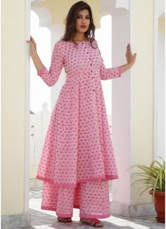 Indo Western Dresses - Readymade Pink Block Printed Cotton Kalidar and Pakistani Sharara SuitsBlack Indo Western Maxi Dress With Jacket Simple Kurti Designs, Stylish Dress Designs, Kurta Designs Women, Kurti Neck Designs, Salwar Designs, Kurti Designs Party Wear, Designs For Dresses, Stylish Dresses, Indian Designer Outfits