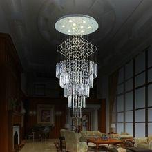 Del envío del nuevo modernos colgantes de alambre Crystal Stair luz 110 V - 240 V LED lámpara cristal Dia80 * H220cm grande lustres de cristal(China (Mainland))