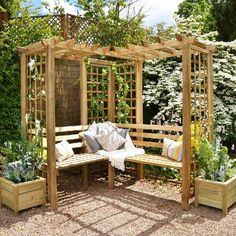 Build your own garden arbor bench from these 45 DIY Kits or use design ideas as inspiration. Pergola style, corner, lattice & under seat storage designs. Corner Pergola, Pergola Patio, Backyard Landscaping, Pergola Kits, Pergola Shade, Corner Patio Ideas, Wisteria Pergola, Black Pergola, Modern Pergola