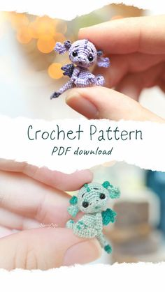 Crochet dragon pattern amigurumi miniature toy by Nansyoops design. The pattern is easy to - Amigurumi Crochet Animal Amigurumi, Crochet Animal Patterns, Stuffed Animal Patterns, Amigurumi Patterns, Crochet Dolls, Sewing Patterns, Amigurumi Doll, Easy Crochet Animals, Crotchet Patterns
