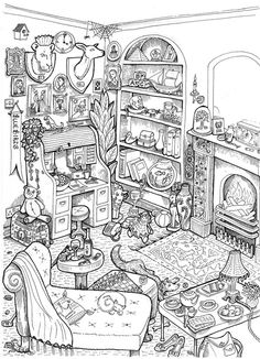 B&W Projects: In the Parlour Vicki Thompson Gateshead, United Kingdom Coloring Page Printable Adult Coloring Pages, Free Coloring Pages, Coloring Sheets, Coloring Books, House Colouring Pages, Colorful Drawings, Colorful Pictures, Art Doodle, Sketches