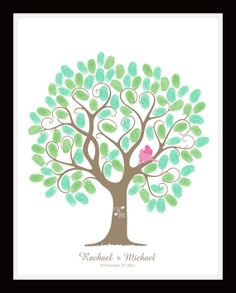 Items similar to Fingerprint Tree Guestbook,Family tree,pick your style 16x20 on Etsy