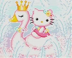 Hello Kitty the Swan Princess Cross Stitch Pattern