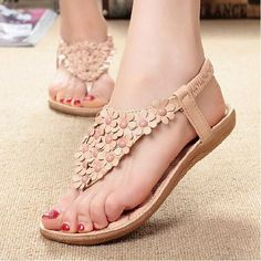 Description: Shoe Type: Sandals Toe Type:Open Toe Closure Type: Slip On Heel Type:Flat Heel Height: 1-3cm Gender: Female Occasion: Casual Season: Summer,Autumn Color: Beige,White Material: Upper Material: Pu Outsole Material: Rubber Package included: 1*pair of shoes(without box) Please Note: 1.Please see the Size Reference to find the correct size. 2.The size of these shoes are smaller than ordinary, we suggest buying a bigger one size.