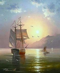 Artist Maxim Ilyin Beauty in Art Ship Paintings, Seascape Paintings, Landscape Paintings, Old Sailing Ships, Boat Art, Boat Painting, Nautical Art, Ship Art, Fantasy Landscape