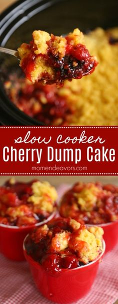 Slow Cooker Cherry Dump Cake Recipe - it doesn't get easier than this delicious dessert recipe plus you don't have to heat up the whole house! Crock Pot Desserts, Slow Cooker Desserts, Healthy Dessert Recipes, Easy Desserts, Slow Cooker Recipes, Delicious Desserts, Cooking Recipes, Slow Cooking, Dinner Recipes