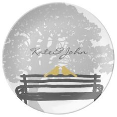Birds on a Park Bench Wedding Anniversary Porcelain Plate - This classy and elegant city wedding design features stylish love dove birds sitting on a country park bench under a giant grandfather oak tree in lemon yellow and slate gray and white colors! A beautiful and chic design for any outdoor wedding in a garden too. Look in my shop for matching products to go with this. Great for nature and animal lovers! #artisic #fun #colorful #artsy #casual #whimsical #bird #dove romantic...