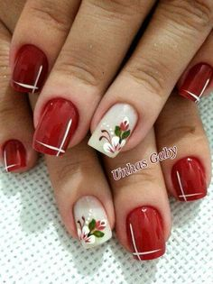 Ideas nails french manicure christmas for 2019 - Ladys Beauty 2019 Fancy Nails, Red Nails, Cute Nails, Pretty Nails, Holiday Nails, Christmas Nails, Holiday Makeup, Christmas Holiday, Winter Nails
