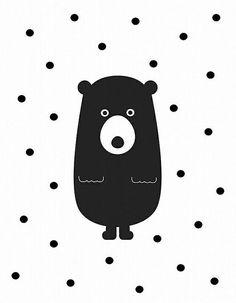 Bear nursery print- Black and white wall art- Polka dots decor- Art for… Bear Nursery, Nursery Art, Sketch Note, Black And White Wall Art, Kids Prints, Baby Room Decor, Nursery Prints, Graphic Illustration, Art For Kids