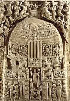 Harmika: small fence around top of stupa. This relief shows a stupa with a harmika and umbrellas
